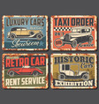 retro car rusty signs with vintage auto vehicles vector image vector image