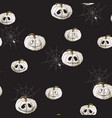 seamless pattern with white halloween pumpkins vector image
