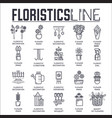 set floristic decoration thin line icons vector image vector image
