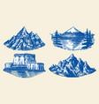 set mountains peaks vintage rock old vector image vector image