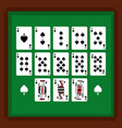 Set of poker playing cards of spade suit on green