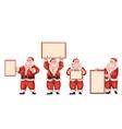 Set of Santa Claus holding a blank board vector image vector image