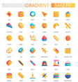 set trendy flat gradient bakery icons vector image vector image