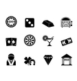 Silhouette casino and gambling icons vector image vector image