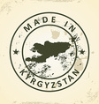Stamp with map of Kyrgyzstan vector image vector image