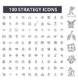 strategy editable line icons 100 set vector image vector image