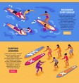 surfing lessons horizontal banners vector image