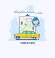 taxi service taxi app thin line vector image vector image