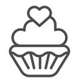 valentine muffin line icon sweet cupcake sign vector image