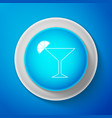 white martini glass icon cocktail with lime vector image vector image