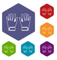 Winter gloves icons set vector image vector image