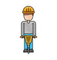 worker helmet jackhammer equipment construction vector image vector image