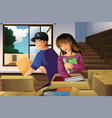 young couple unpacking boxes vector image