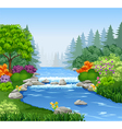 Beautiful mountain river in forest vector image