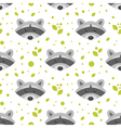 flat style seamless pattern with raccoon vector image