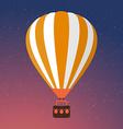 Cartoon Retro Air Balloon On Night Sky Background vector image