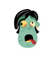 comic zombie head icon in cartoon style vector image