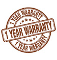 1 year warranty brown grunge round vintage rubber vector image vector image