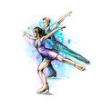abstract winter sport figure skating young couple vector image vector image