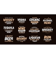 Alcoholic drink Collection labels for menu design vector image vector image
