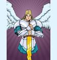archangel michael portrait 2 vector image vector image
