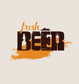 beer text logo or emblem template stylized symbol vector image
