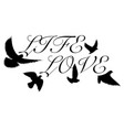 birds flying text black silhouette vector image vector image