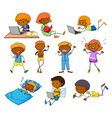 Boy and girl doing different activities vector image vector image