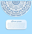 card with blue and white mandala vector image vector image