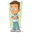 Cartoon cute boy in shirt and jeans vector image