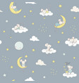 childish seamless pattern white cute little vector image vector image