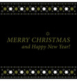 Christmas and New Year card - gold and white stars vector image vector image