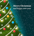 christmas card with decorated part of tree vector image