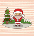 christmas card with santa claus and christmas tree vector image