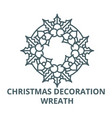 christmas decoration wreath line icon vector image vector image