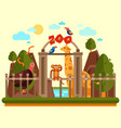 colourful view of the zoo entrance with animals vector image