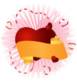 congratulatory banner with a heart vector image vector image