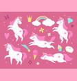 cute unicorns pink beautiful magic pony vector image