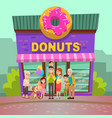 Donuts restaurant people near candy store