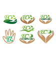 eco solution ecological icons set logo vector image