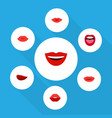 flat icon mouth set of pomade mouth kiss and vector image vector image