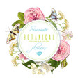 flower butterfly round banner vector image vector image
