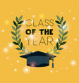 graduation card with hat vector image vector image