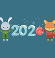 happy new year 2020 celebration cute rabbit fox vector image vector image