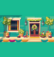 house facade with easter decoration on porch vector image