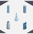 isometric building set of residential cityscape vector image vector image