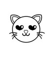 line enamored cat head cute animal vector image vector image