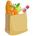 Paper bag with bread and apple and carrot