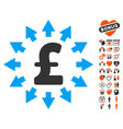 pound distribution icon with lovely bonus vector image vector image