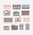 retro radio icons set flat vector image vector image